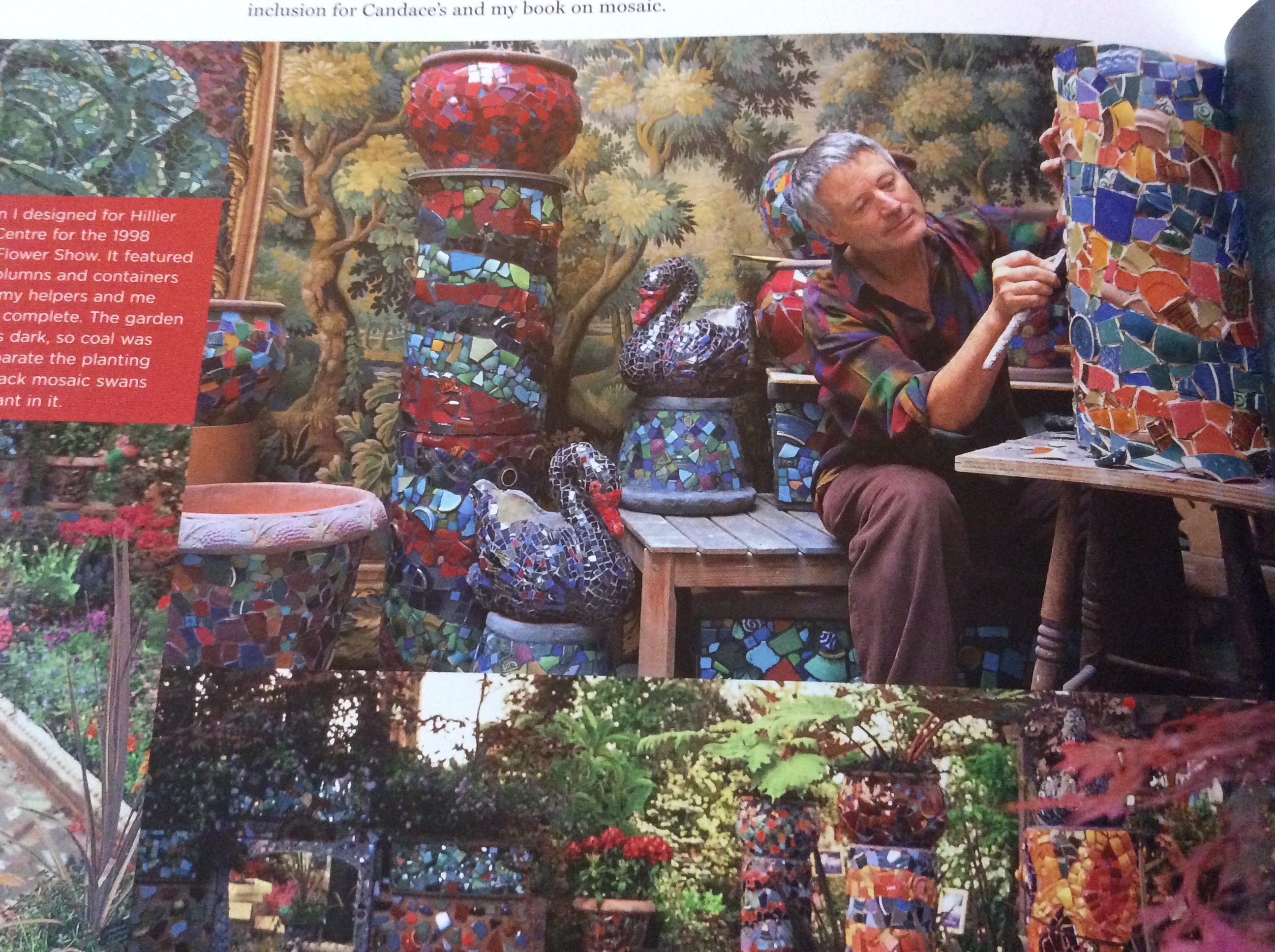 Kaffe Fassett working on mosaics