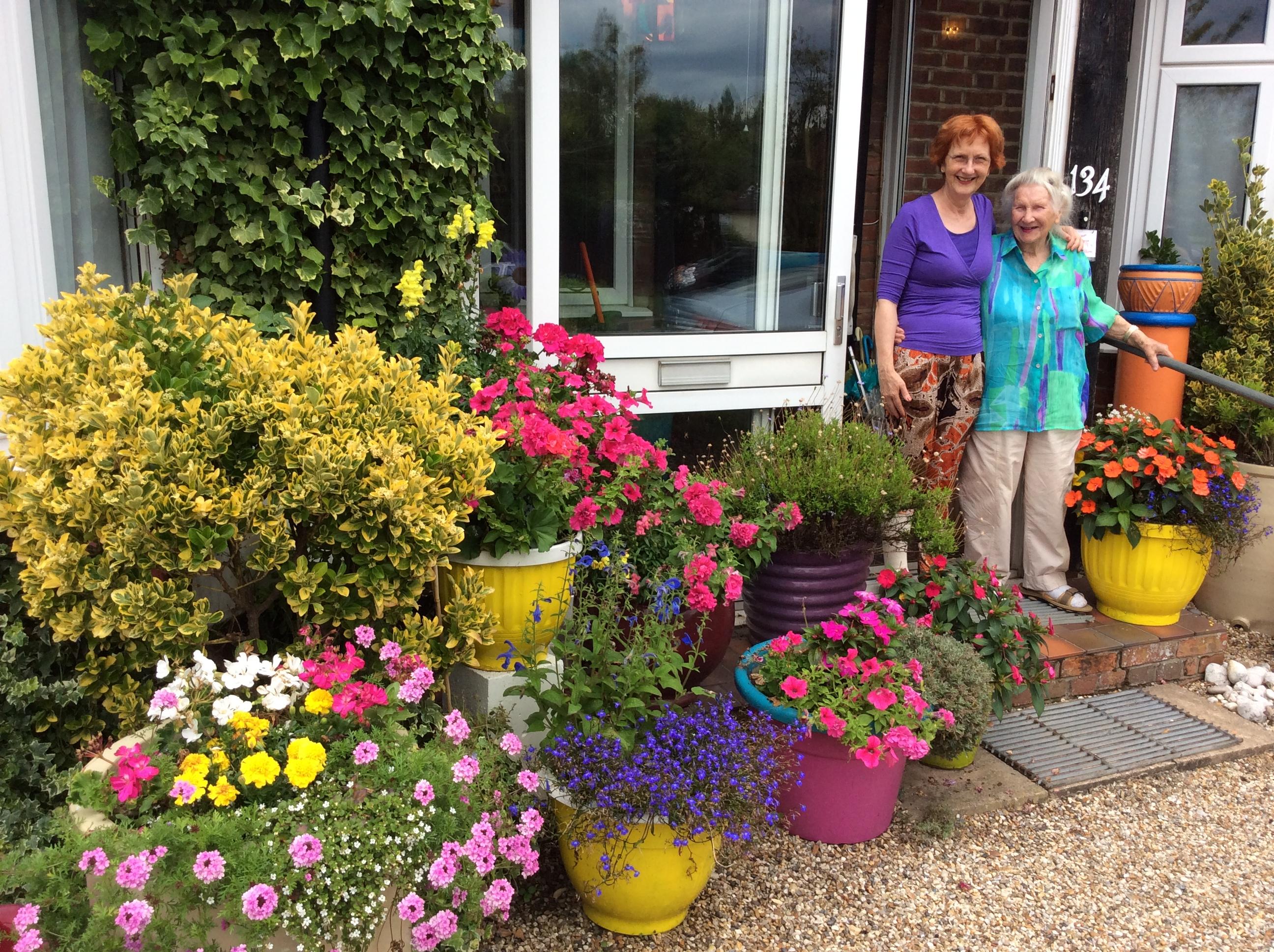 pots of petunias, marigolds, lobelia, geraniums, summer planting