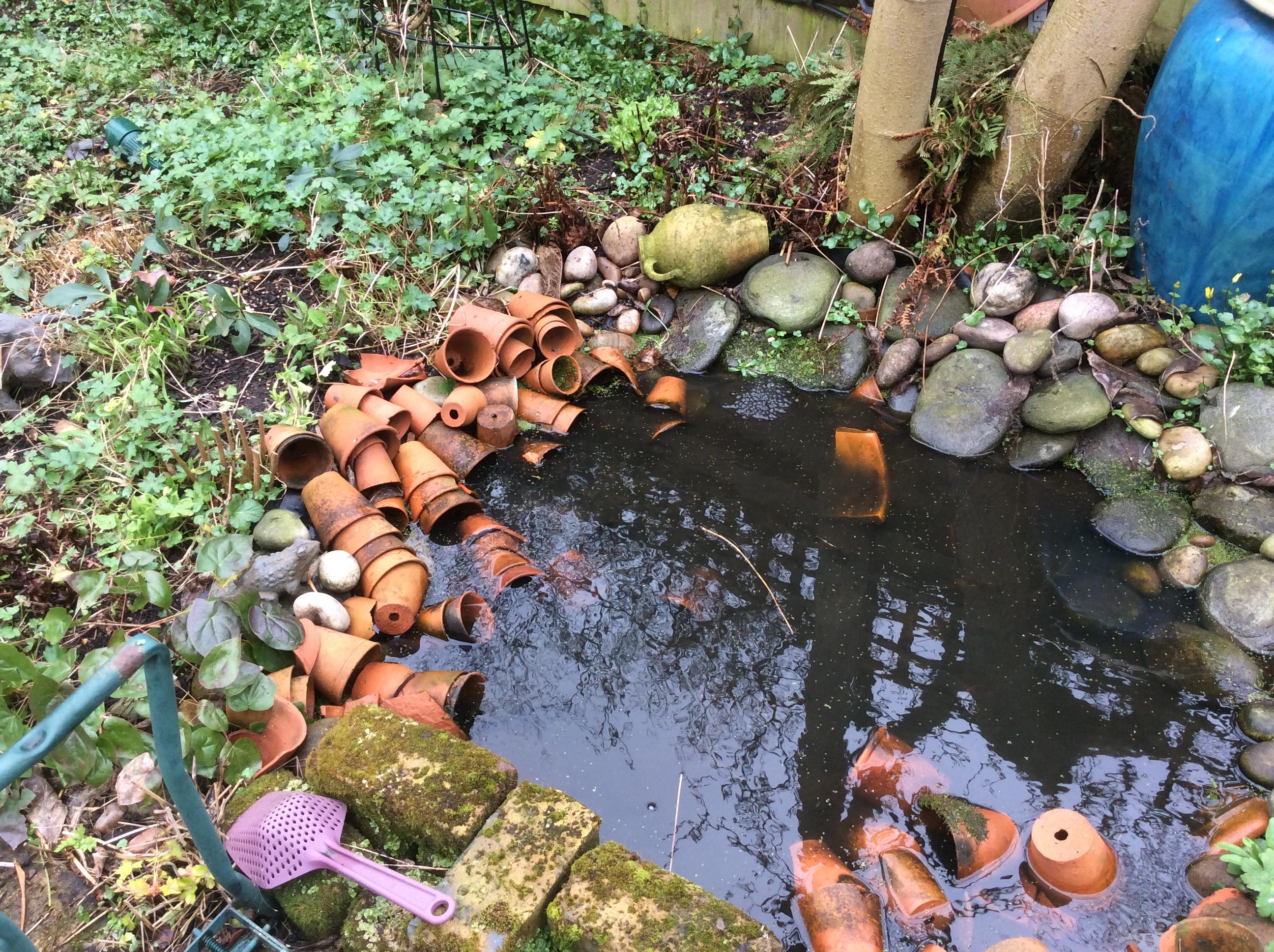 vintage terracotta pots round a cottage garden pond