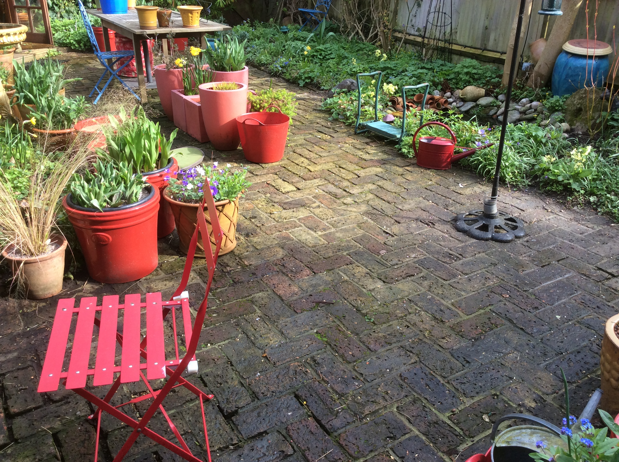 brick paving in a cottage garden