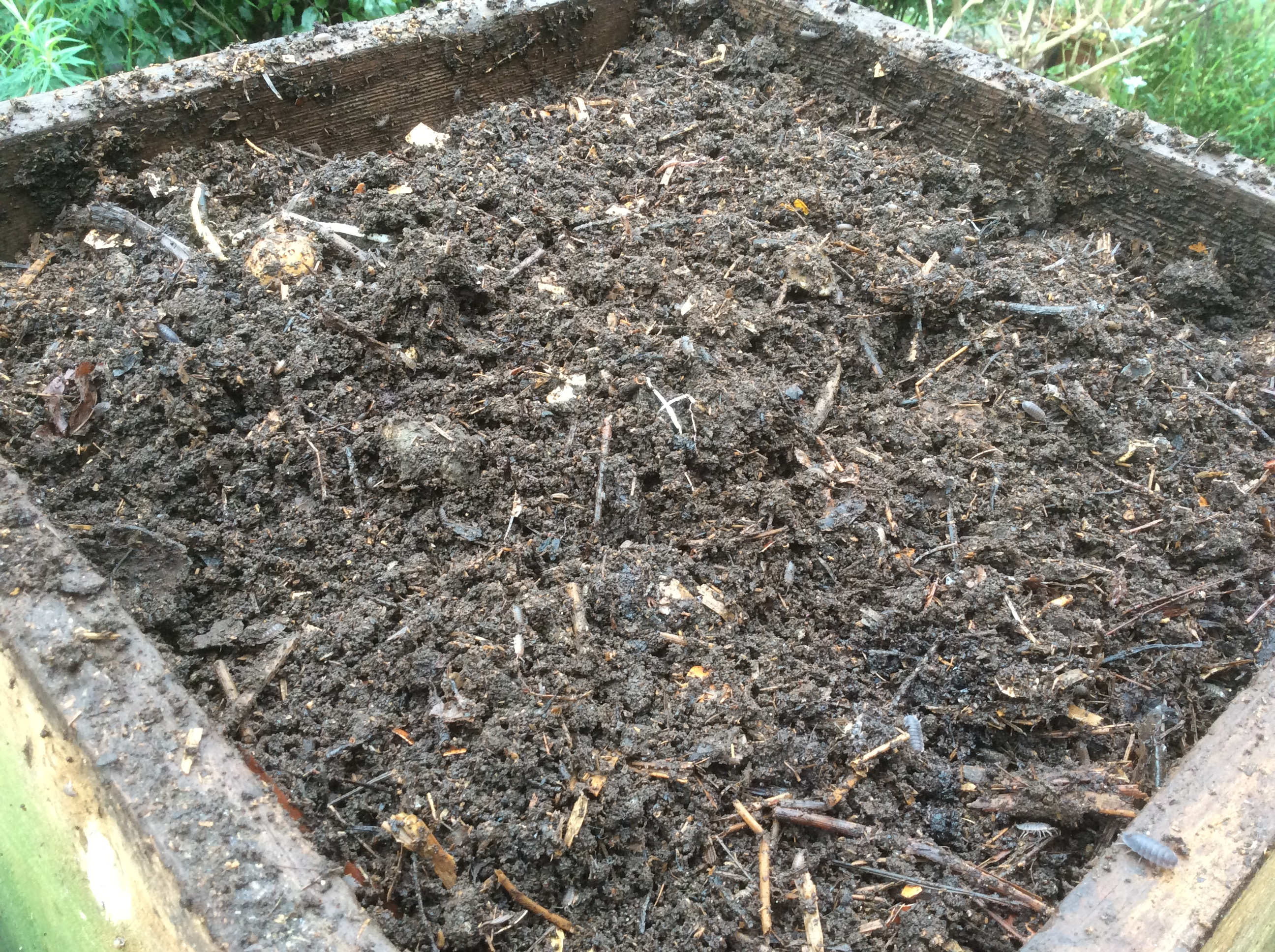 homemade compost in wooden beehive compost bins