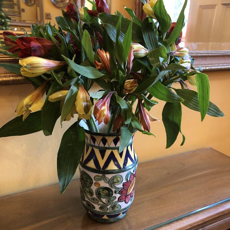 alstroemerias in a vintage vase